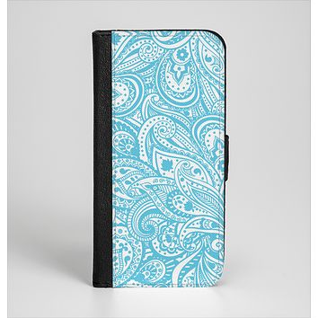 The Light Blue Paisley Floral Pattern V3 Ink-Fuzed Leather Folding Wallet Case for the iPhone 6/6s, 6/6s Plus, 5/5s and 5c