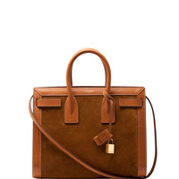 Sac de Jour Small Suede/Leather Tote Bag, Light Cognac - Saint Laurent