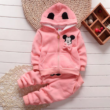 Girls clothing set autumn winter cartoon kids fox coat thickening sweater hooded zipper large thicken winter clothes for girls