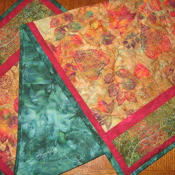 Quilted Table Runner Table Topper - Fall Leaves Home Decor