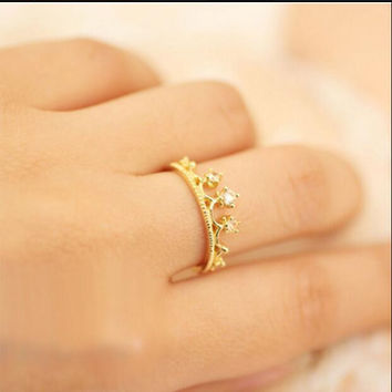 G221 Hot Selling New Fashion Flash Wedding Drill Crown Ring Wedding Vintage Jewelry Accessories For Women Girl