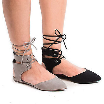 Deanna01 Pointed Toe Laced Ankle Cuff Leg Wrap Ballerina Flat Sandals