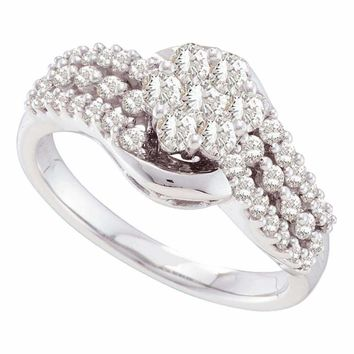 14kt White Gold Women's Round Diamond Flower Cluster Contoured Ring 3-4 Cttw - FREE Shipping (USA/CAN)