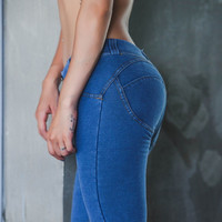 Hip Up Pants Sports Yoga Outdoors Jeans [10195814348]
