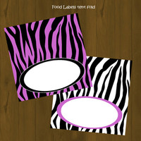 Purple and Zebra Food Labels - Zebra Stripes and Purple Printable Food Labels (Tent Cards)