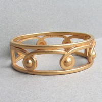 Vintage MONET Matte Gold Tone Etruscan Bangle Bracelet