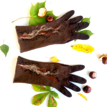 Brown mittens Felted gloves Cozy Arm warmers Fall faishion Felting mittens with fingers Winter wear Christmas Gifts Neutrales autumn colors
