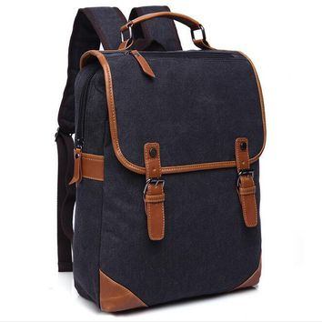 070417 men vintage canvas backpack double shoulder student school book bag