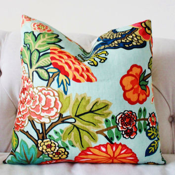 Chiang Mai Dragon - Decorative Pillow Cover - Schumacher Aquamarine - Aqua Blue Red Orange Coral Yellow Pillow