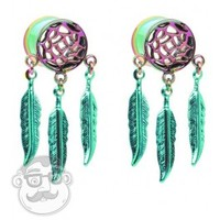 Beautiful Rainbow Dreamcatcher Tunnel Plugs (0G -1 Inch) | UrbanBodyJewelry.com
