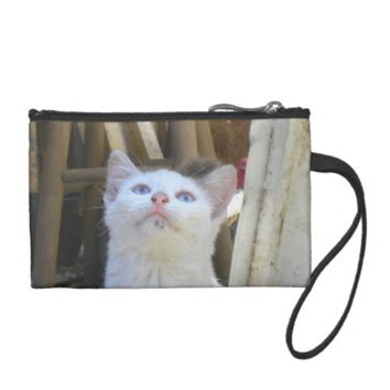 White Farm Cat Blue Eyes Coin Wallet
