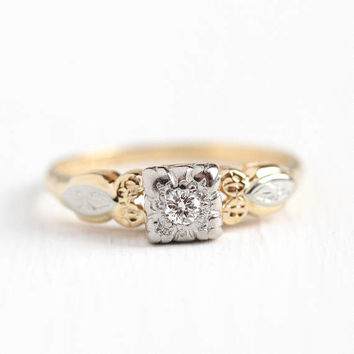 Vintage Diamond Ring - 14k - 18K Yellow & White Gold .08 Ct Engagement Ring - Size 6 1/2 Two Tone 1940s Wedding Square Flower Fine Jewelry