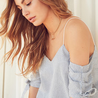 Kimchi Blue Seersucker Cold-Shoulder Tie-Sleeve Top | Urban Outfitters