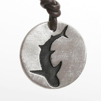 Shark Necklace Great White pendant Silhouette coin style Shark Jewelry