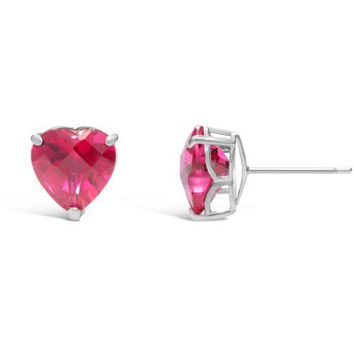 3.60 cttw Heart 8MM Simulated Red Ruby 14k White Stud Earrings