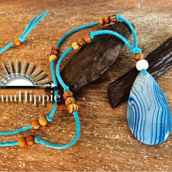 boho hippie jewelry , tribal beach necklace, gypsy pendant