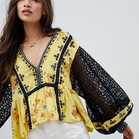 Free People Boogie All Night Printed Blouse at asos.com