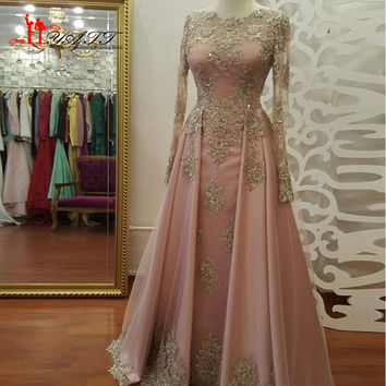 Real 2017 New Gold Lace Appliques Long Sleeve Muslim Evening Dress Floor Length Saudi Arabia Formal Party Gown Pink Prom Dress