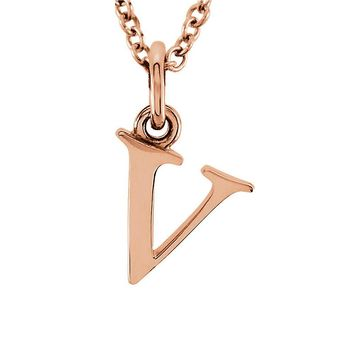 The Abbey Lower Case Initial 'v' Necklace in 14k Rose Gold, 16 Inch