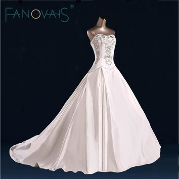 Satin Wedding Dress Beads Crystal Strapless Bridal Gowns