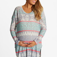 Mint Green Grey Printed Knit Maternity Top