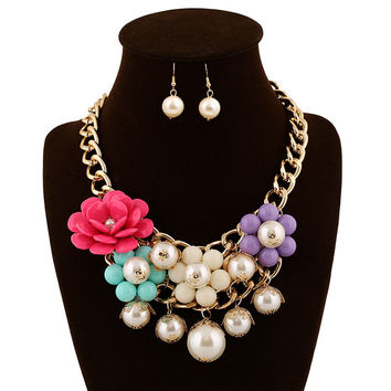 Jewelry Gift Stylish New Arrival Shiny Resin Hot Sale Floral Set Fashion Accessory Necklace [6056667009]