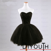 Black prom dress,short ball gown prom gown,cheap homecoming dress,black homecoming gown,short dress for homecoming,custom party dress