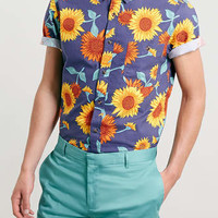 Blue Sunflower Print Short Sleeve shirt - Casual Shirts - Men's Shirts - Clothing
