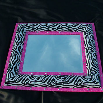 Zebra Mirror HUGE Hollywood Regency Mirror/Chalkboard Combo Zebra with HOT Pink Textured Vinyl 32 X 28 Layaway Offered