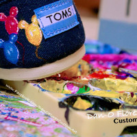 Custom Toms order for Danny & Stacey haunted mansion and  little mermaid themed shoes.