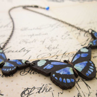 Blue Butterfly Necklace - Wooden Wood Woodcut Butterfly Pendant
