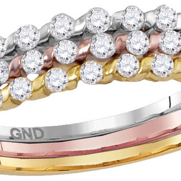 10kt Tri-tone Gold Womens Round Diamond Band Ring 1/2 Cttw 114415
