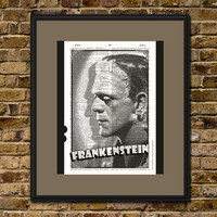 Frankenstein Vintage Dictionary Art Print HALLOWEEN WALL ART Holiday Home Decor Retro Upcycled Book Hollywood Poster Halloween Party Decor