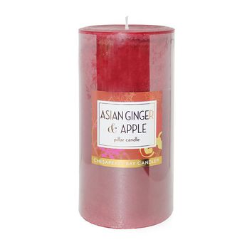 Chesapeake Bay Candle 3'' x 6'' Asian Ginger & Apple Pillar Candle (Red)