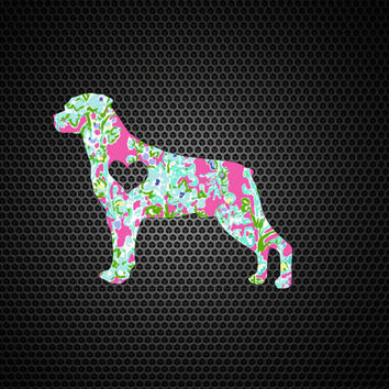 Lilly Pulitzer Rottweiler Heart Decal | Rottweiler Mom Decal | Rottweiler Dog Mom Decal | Dog Decal | Dog Family Decal | Love Sticker |204