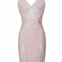 Sadie Silver Sequined Pink Bandage Dress