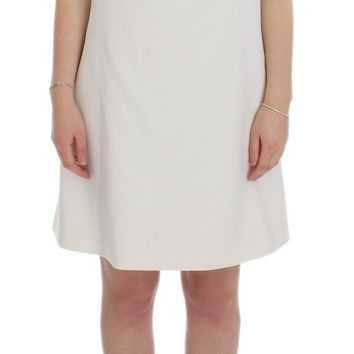 White Wool Stretch Shift Crystal Dress