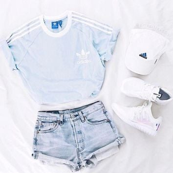 Adidas Fashion Blue Three Stripe Boyfriend Shirt Top Tee