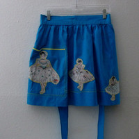 14-1015 Vintage 1960s Turquoise Apron With Ballerinas / Kitchen Apron / Ballerina Apron / Blue Apron
