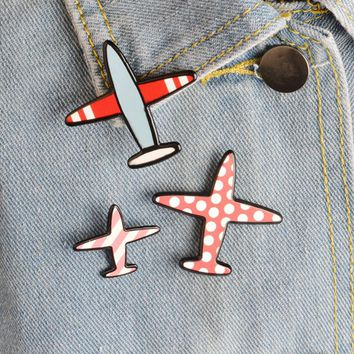 3 pcs/lot creative airplane acrylic brooch button pins denim jacket pin jewelry decoration badge for clothes lapel pins