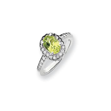 0.276 Ct  14k White Gold 8x6mm Oval Peridot Diamond Ring SI2/SI3 Clarity and G/I Color