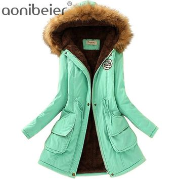 Women's Warm And Cozy Thick Velvety Parka Coat Jacket With Fur Collar
