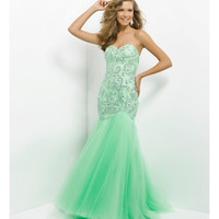 (PRE-ORDER) Blush 2014 Prom Dresses - Honeydew Jeweled Strapless Mermaid Tulle Prom Dress