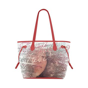 Levi Thang Half Face Vintage Letters Clover Canvas Tote Bag Red