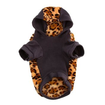 1Pcs Dog Cat Jackets Leopard Print Sweater Puppy Warm Coat T-Shirt Pet Clothes Soft Warm Dog Clothes