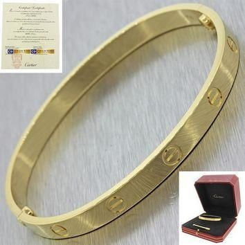 2016 Cartier 18K Yellow Gold New Style Screw Love Bangle Bracelet Size 19 w/BoxP