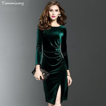 Timmiury New Women Spring Long Sleeves Velvet Dress Office Slim Fit Sheath Sexy Solid Vestidos Knee-Length Dress Green/Black