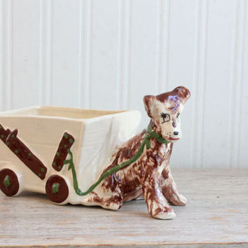 Kitsch Brown Terrier Dog with Cart Planter - 1950s