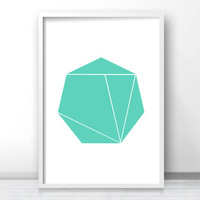 Mint Green Wall Art Print, Instant Digital Download Art, Geometric Art, Mint Decor, Printable Home Decor, Modern Art 8x10 Print