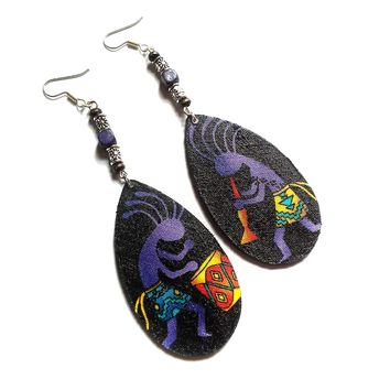 African earrings fabric earrings, Kokopelli dancing man flute and drum musical tribal earrings